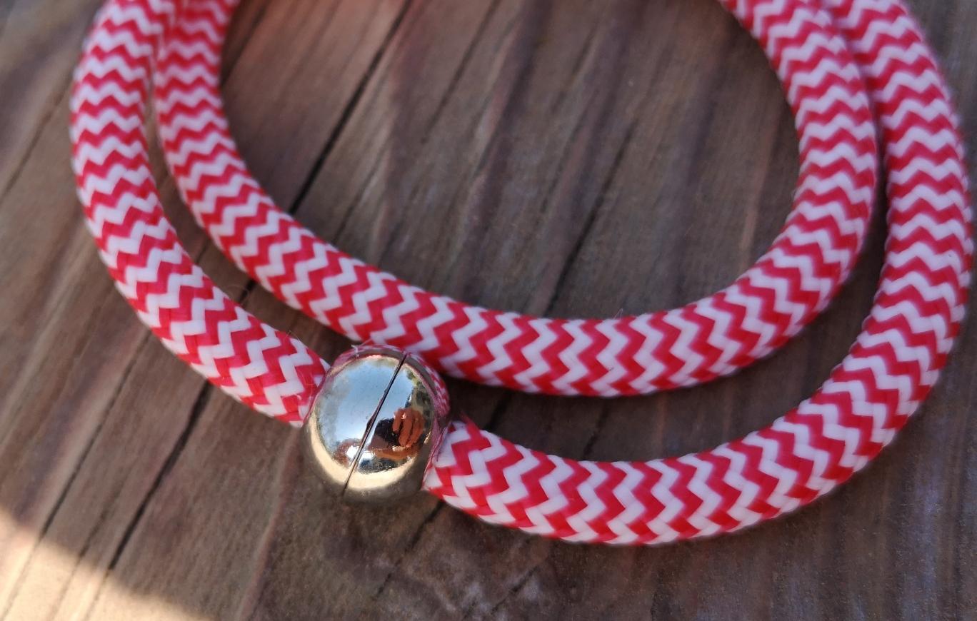 Segelseilarmband Rot-Weiß