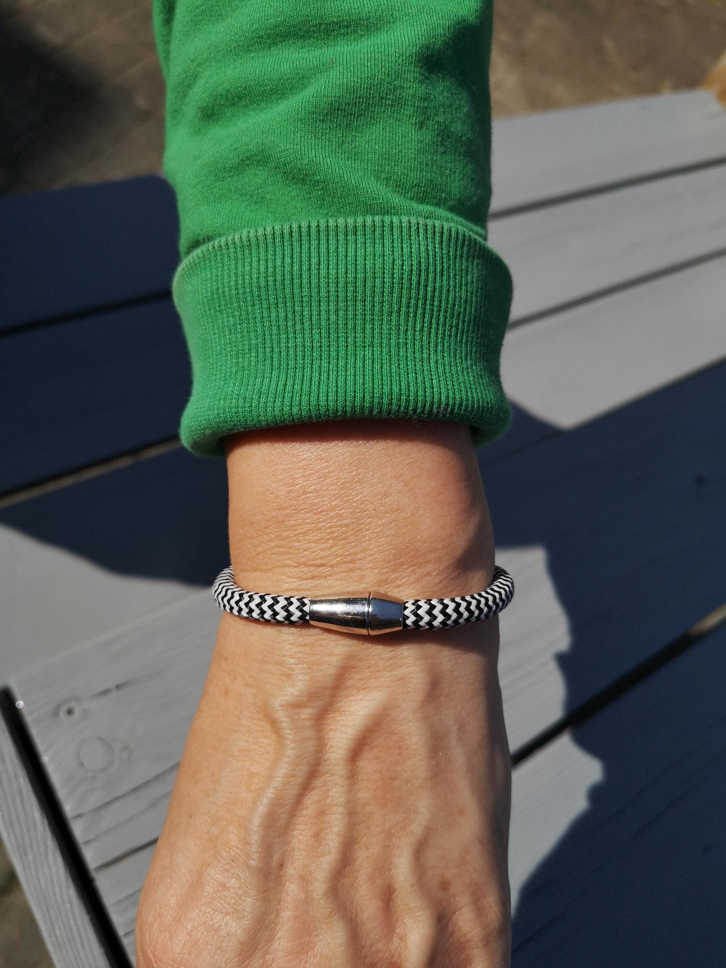 Segelseilarmband Schwarz-Weiß